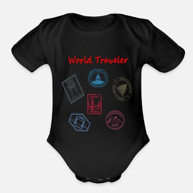 World Travel World Traveler Travel Gifts - Organic Short-Sleeved Baby Bodysuit