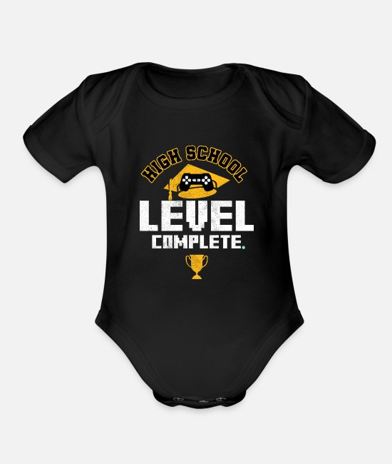 High Baby One Pieces - HIGH SCHOOL GRAD: High School Level Complete - Organic Short-Sleeved Baby Bodysuit black