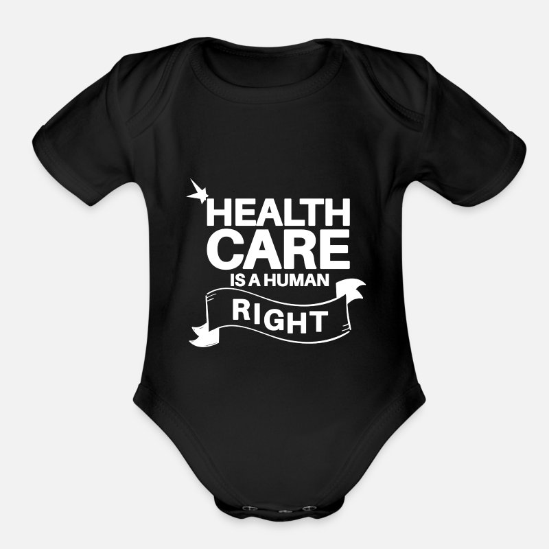 Health Care Baby Clothing - Health Care is Human Right - Organic Short-Sleeved Baby Bodysuit black