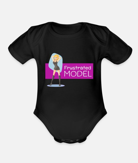 Cute Baby One Pieces - Frustrated Model - Organic Short-Sleeved Baby Bodysuit black