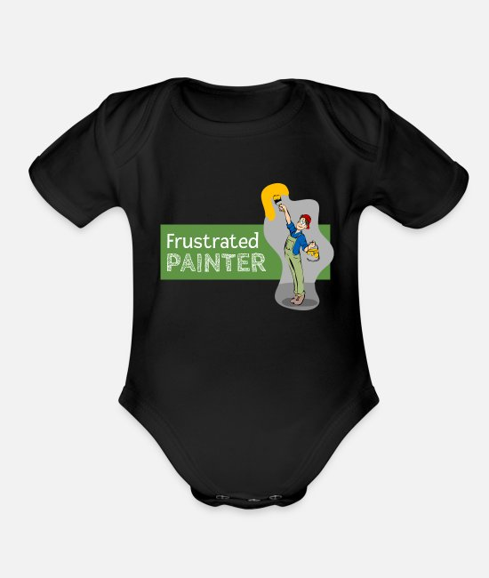 Cute Baby One Pieces - Frustrated Painter - Organic Short-Sleeved Baby Bodysuit black