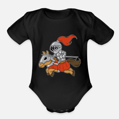 Chivalry Cute Knight Warrior Soldier Chivalry Horse Gift - Organic Short-Sleeved Baby Bodysuit