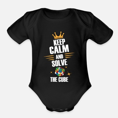 Zauberwürfel Keep Calm, Solve The Magic Cube - Limited Edition - Organic Short-Sleeved Baby Bodysuit