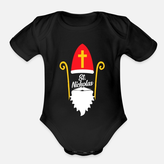 Christmassy Baby Clothing - Saint Nicholas Day 6th December Holiday Bishop - Organic Short-Sleeved Baby Bodysuit black