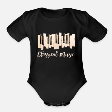 Classical Classical Music Piano - Organic Short-Sleeved Baby Bodysuit