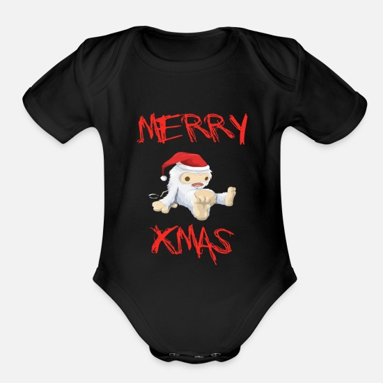 Ugly Baby Clothing - Ugly Christmas - Organic Short-Sleeved Baby Bodysuit black