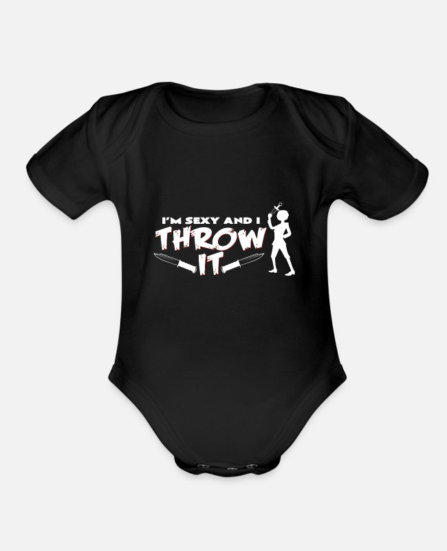 Knife Baby One Pieces - I am sexy and I like to throw knife hobby fun - Organic Short-Sleeved Baby Bodysuit black