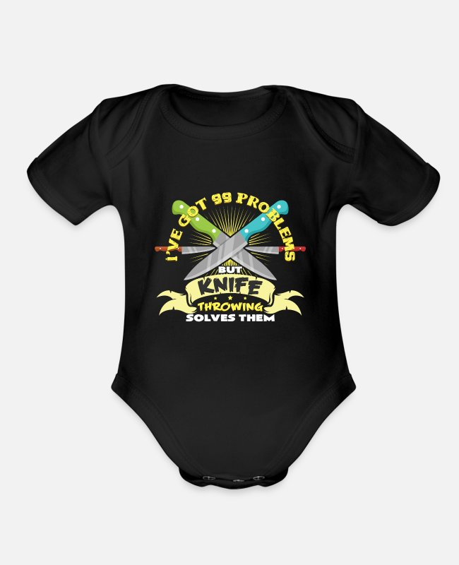 Artist Baby One Pieces - Knife thrower circus hobby art tricks gifts - Organic Short-Sleeved Baby Bodysuit black
