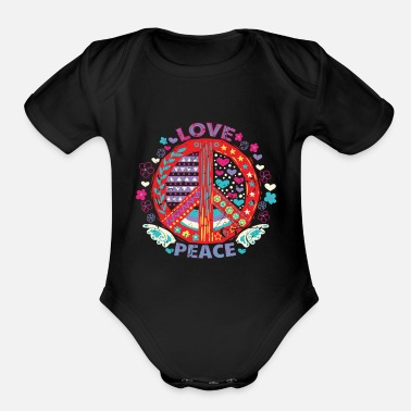 Peace Sign Peace Peace Sign - Organic Short Sleeve Baby Bodysuit