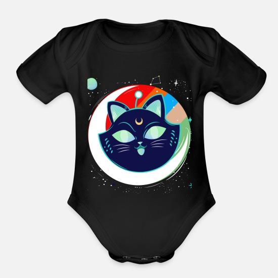 Space Baby Clothing - Space cat - Organic Short-Sleeved Baby Bodysuit black
