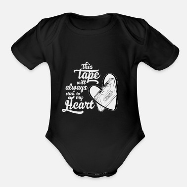 Nostalgia This cassette tape sticks to my heart idea - Organic Short Sleeve Baby Bodysuit
