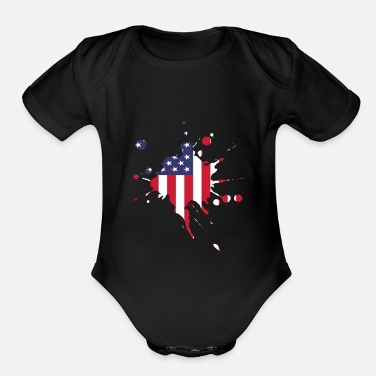 Usa Baby Clothing - USA - Organic Short-Sleeved Baby Bodysuit black