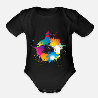 Colorful splashes of color make a circle - Organic Short-Sleeved Baby Bodysuit