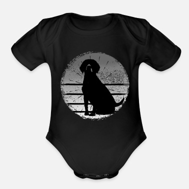 Buddy Who's a good dog? Cute pet in black and orange - Organic Short Sleeve Baby Bodysuit