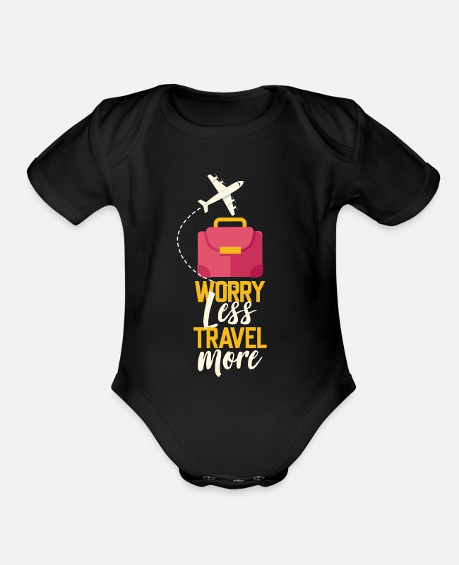 Travel Baby One Pieces - Travel adventure journey gift - Organic Short-Sleeved Baby Bodysuit black