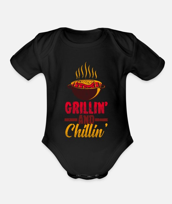 BBQ Baby One Pieces - BBQ meat grill - Organic Short-Sleeved Baby Bodysuit black