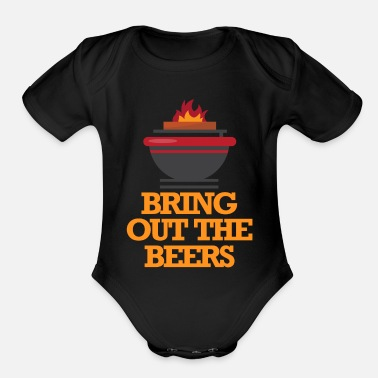 Roast BBQ meat grill food beer gift - Organic Short Sleeve Baby Bodysuit