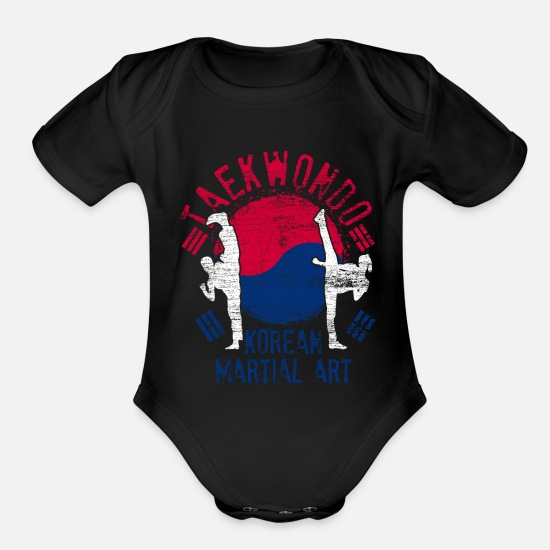 Tae Kwon Do Baby Clothing - Taekwondo Korea - Organic Short-Sleeved Baby Bodysuit black