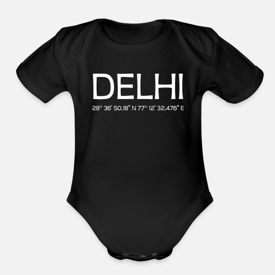 Souvenir Baby Clothing - Delhi India - Organic Short-Sleeved Baby Bodysuit black