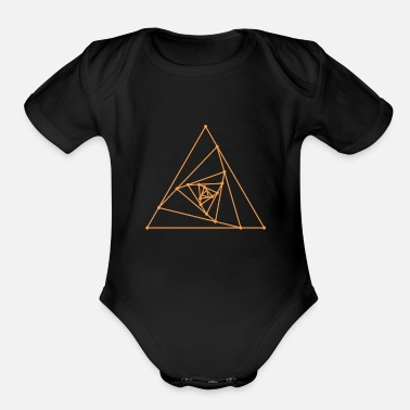 Sacred Sacred Geometry - Spiralling Triangles - Organic Short-Sleeved Baby Bodysuit