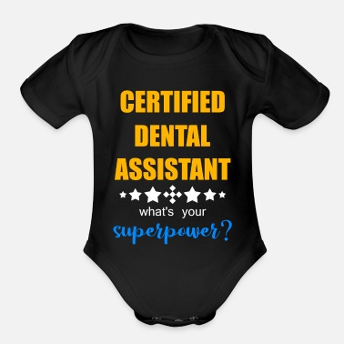 Prosthetic Center laboratories floss mouth wash gift dentist clinic - Organic Short-Sleeved Baby Bodysuit