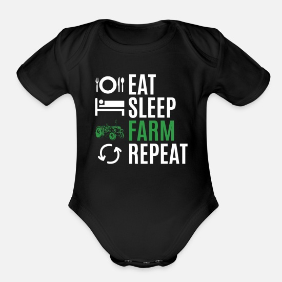 Farmer Baby Clothing - farmer - Organic Short-Sleeved Baby Bodysuit black