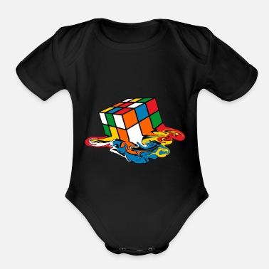 Cube Melting Rubik's Cube Toy - Organic Short-Sleeved Baby Bodysuit