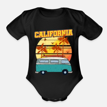 Los Angeles Van Surfer Summer Palms California Tree Beach Gift - Organic Short-Sleeved Baby Bodysuit