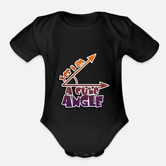 Am Baby Clothing - Yes I Am a cute angle - Math - angle - Organic Short-Sleeved Baby Bodysuit black