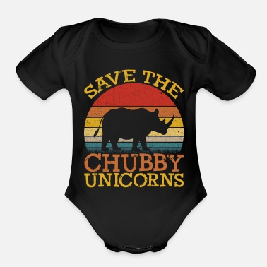 Unicorn Save the Chubby Unicorns - Organic Short-Sleeved Baby Bodysuit