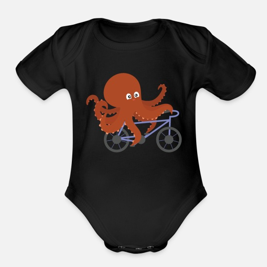 Art Baby Clothing - Biking Octopus Cyclist Kraken Squid Ward Bicycle - Organic Short-Sleeved Baby Bodysuit black