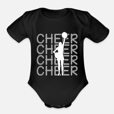 Cheer Cheerleading - Cheer Cheer Cheer - Organic Short-Sleeved Baby Bodysuit