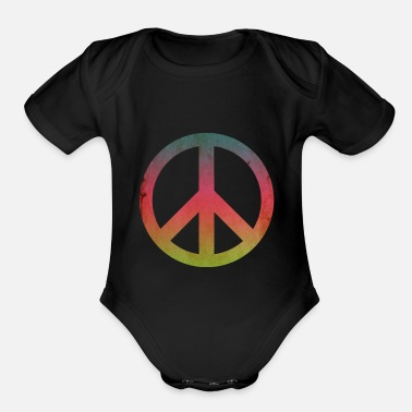 Dove Of Peace Peace Love Hippie Flower Power Gift - Organic Short-Sleeved Baby Bodysuit