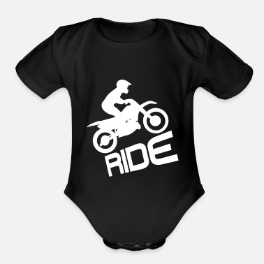 Motocross Ride Motorcycle Motorbike Biker Motor Bike - Organic Short-Sleeved Baby Bodysuit