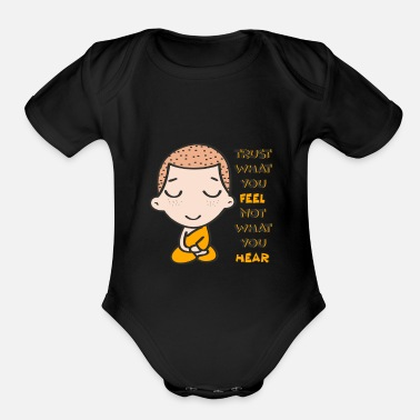 I Love Yoga Namaste Monk Buddhist Buddha Buddhism I Gift Idea - Organic Short-Sleeved Baby Bodysuit