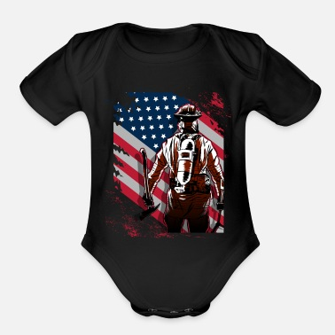 Hundred Firefighter Firefighter USA - Organic Short-Sleeved Baby Bodysuit