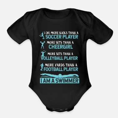 I Am A Swimmer I Am A Swimmer Athlete - Organic Short-Sleeved Baby Bodysuit