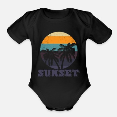 sunset beach - Organic Short-Sleeved Baby Bodysuit