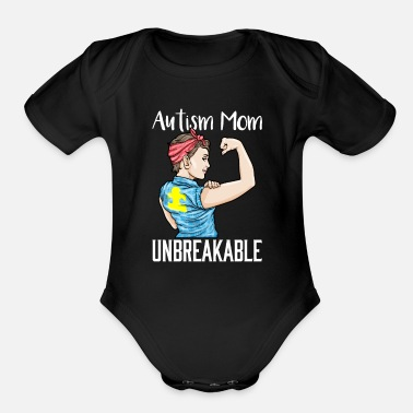 Puzzle Autism Mom Unbreakable Autistic Puzzle Awareness - Organic Short-Sleeved Baby Bodysuit