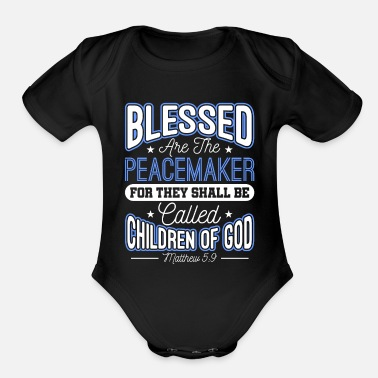 Sheriff Blessed Are The Peacemakers Police Officer Cop - Organic Short-Sleeved Baby Bodysuit