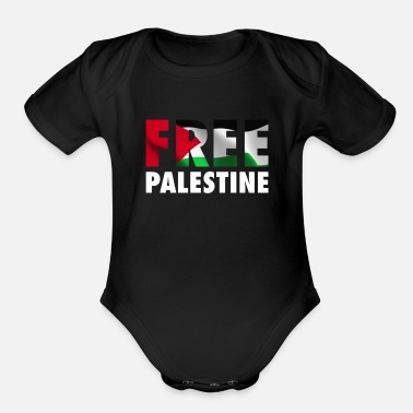 Map Free Palestine - The Palestinian Flag Graphic - Organic Short-Sleeved Baby Bodysuit