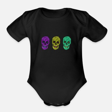 Leaf Treble Scary Candy Skulls - Organic Short-Sleeved Baby Bodysuit