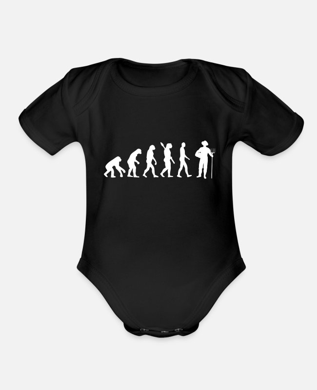 Red Baby One Pieces - Farmer - Human Evolution, Darwin - Organic Short-Sleeved Baby Bodysuit black