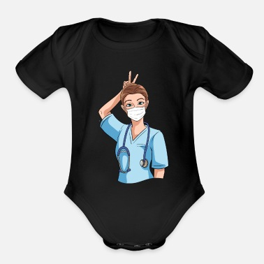 Funny Nurse Funny nurse with humor Design for a Nurses - Organic Short-Sleeved Baby Bodysuit