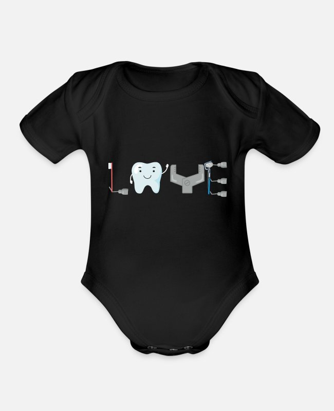 Medicine Baby One Pieces - Dentist Dental Assistant - Organic Short-Sleeved Baby Bodysuit black