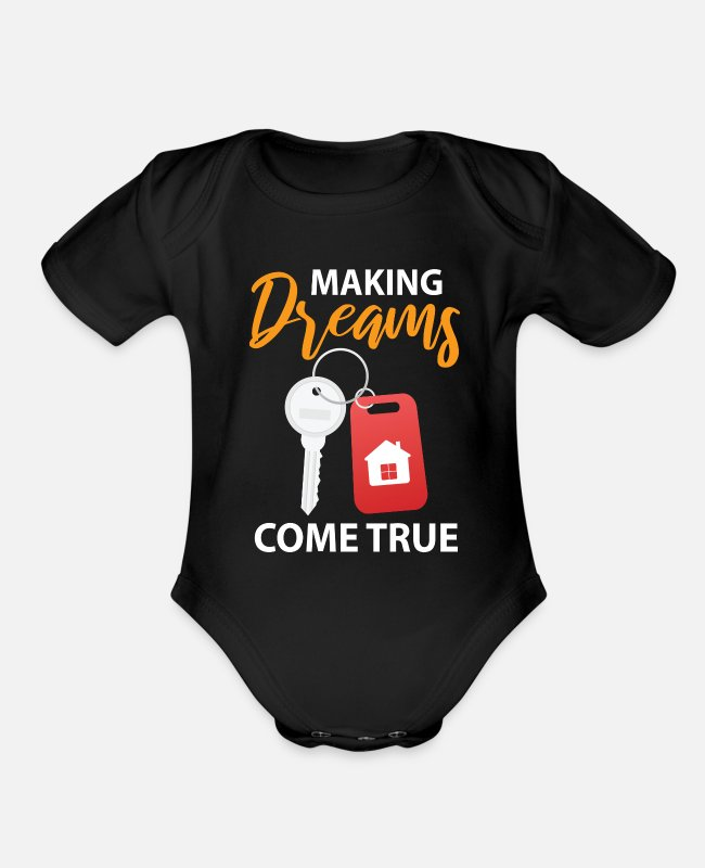 Occupation Baby One Pieces - Real Estate Agents Cool Occupation Gift - Organic Short-Sleeved Baby Bodysuit black
