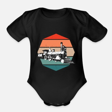 Steam Retro locomotive vintage train train gift idea - Organic Short-Sleeved Baby Bodysuit