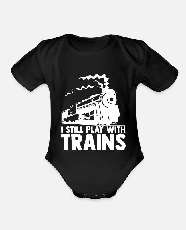 Locomotion Baby One Pieces - Trains model railways gift for men railway - Organic Short-Sleeved Baby Bodysuit black