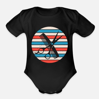Razor Comb Scissor Salon Haircut Hairstyle Barber - Organic Short-Sleeved Baby Bodysuit