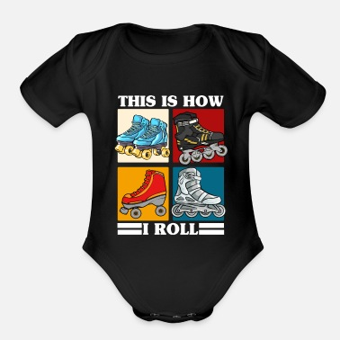 Roller Skate Roller Skating Themed Design, Rollerblades, Girls - Organic Short-Sleeved Baby Bodysuit